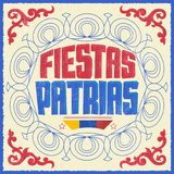 Fiestas Patrias, National Holidays spanish text, Colombia theme patriotic celebration vintage banner. Colombian flag colors - eps available Stock Image