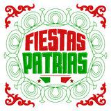 Fiestas Patrias - National Holidays spanish text. Mexican theme patriotic celebration banner - eps available Royalty Free Stock Image