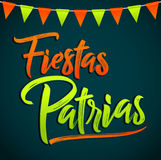 Fiestas Patrias - National Holidays spanish text, mexican theme patriotic celebration. Vector lettering - eps available Stock Photo