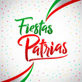 Fiestas Patrias - National Holidays spanish text, mexican theme patriotic celebration. Vector lettering - eps available Royalty Free Stock Images