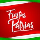 Fiestas Patrias - texto español de las festividades nacionales, celebración patriótica del tema mexicano stock de ilustración