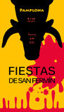 Fiestas Spain. Spain fiestas or festivals abstract poster. Spanish San Fermin Festivals, wallpaper. The running of the bulls is the main attraction in this Stock Image