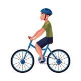 Fiets, cyclus die, fietsruiter, fietser helm, kant dragen vew, persoonlijk vervoer vector illustratie