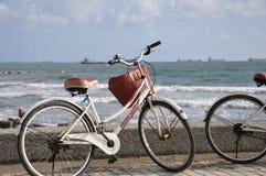 Fiets in de kust die de Straat van Taiwan, Kaohsiung, zuidelijk-westelijk Taiwan, Azië onder ogen zien Royalty-vrije Stock Foto's