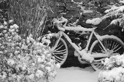 Fiets in de winter Royalty-vrije Stock Foto's