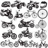Fiets en motorfiets zwarte pictogrammen Stock Afbeeldingen