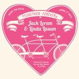Fiets, fiets, achter elkaar, dubbel, samen, voor altijd, hart, ballon, lint, titel, sparen de datum, gelukkig huwelijk, liefde, v royalty-vrije illustratie