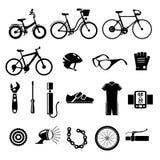 Fiets, geplaatste fiets vectorpictogrammen Stock Afbeeldingen