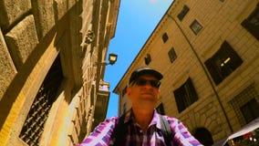 Fiets het berijden bij Navona-Vierkant in het zelfschot van Rome FDV stock video