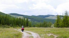 Fiets het Reizen in de Noordelijke Bergen van Mongolië stock foto