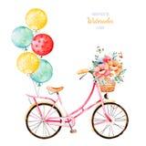 Fiets met boeket in mand en multicolored ballons stock illustratie