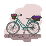 Fiets met een mand van bloemen Royalty-vrije Stock Afbeeldingen