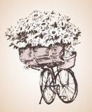 Fiets met grote bos van bloemen schets boven het beeld - een citaat van de voorzitter John F Stock Afbeelding