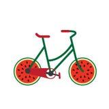 Fiets met watermeloen als wiel op de straat Royalty-vrije Stock Foto