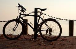 Fiets op de pijler bij Meer Balaton stock fotografie