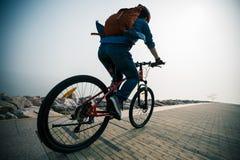 Fiets van de fietser de berijdende berg in de zonsopgangkust Stock Fotografie
