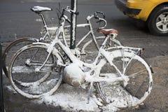 fietsen in de sneeuw Royalty-vrije Stock Foto's