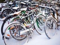 Fietsen in de winter worden geparkeerd die Royalty-vrije Stock Foto's