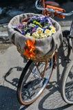 Fietsen en bloemen Stock Fotografie