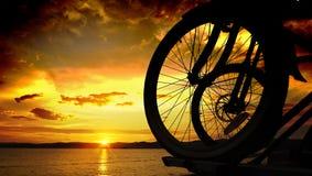 Fietsen op zonsondergangachtergrond stock afbeeldingen