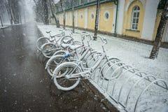 Fietsen regelmatig met verse sneeuw worden behandeld nadat het weer dat phenomen royalty-vrije stock afbeelding