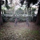Fietsen in rek in park Stock Foto