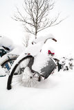 Fietsen in Sneeuw in Lund, Zweden worden behandeld dat Royalty-vrije Stock Afbeelding
