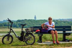 Take a break during a bike ride.