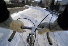 Fietser in de winter Royalty-vrije Stock Foto's