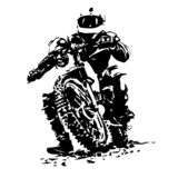 Fietser die een motorfiets berijden royalty-vrije illustratie