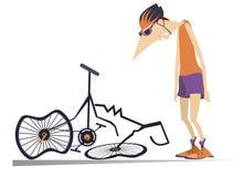 Fietser en een gebroken fiets geïsoleerde illustratie stock illustratie