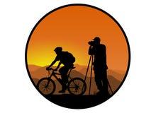 Fietser en fotograaf Royalty-vrije Stock Afbeeldingen