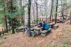Fietser met fiets en cellphonerust bij een picknickgebied Stock Afbeeldingen