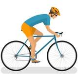 Fietser op een het rennen fiets vector illustratie