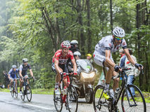 Fietsers die Col. du Platzerwasel beklimmen - Ronde van Frankrijk 2014 stock foto