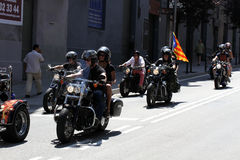 Fietsers op Barcelona Harley Days stock afbeelding