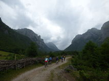 Fietsers op de bergweg in het Nationale Park van Prokletie Stock Afbeelding