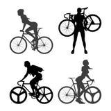Fietsersvrouw en staand vistuigfiets vector illustratie