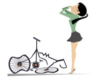 Fietservrouw en een gebroken fiets geïsoleerde illustratie vector illustratie