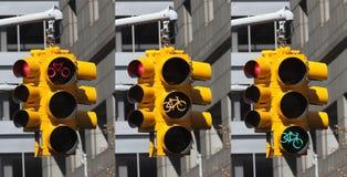 Fietslichten op het kruispunt in de Stad van New York Royalty-vrije Stock Afbeeldingen