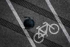 Fietsongeval op fietssteeg Royalty-vrije Stock Foto's