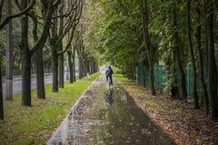 Fietsstijging in regenachtig de herfstweer Royalty-vrije Stock Foto's