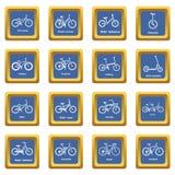 Fietstypes pictogrammen geplaatst blauwe vierkante vector Royalty-vrije Stock Afbeeldingen