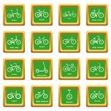Fietstypes pictogrammen geplaatst groene vierkante vector Royalty-vrije Stock Fotografie