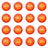 Fietstypes pictogrammen geplaatst rode vector Royalty-vrije Stock Afbeeldingen