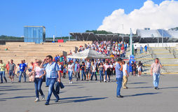 FIFA Confederations Cup 2017 in Sochi. Spectators descend the steps of the train station `Olympic Park` Royalty Free Stock Photo