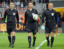 FIFA Football Referees. Romanian football FIFA referees pictured before the Romanian League 1 game between Dinamo Bucharest and Ceahlaul Piatra Neamt held on Stock Photos