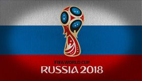 FIFA 2018 logo over Russia flag royalty free stock photo