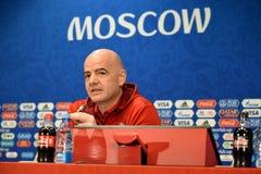 FIFA prezydent Gianni Infantino przy konferencją prasową w Moskwa obrazy royalty free