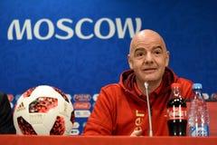 FIFA prezydent Gianni Infantino przy konferencją prasową w Moskwa fotografia royalty free